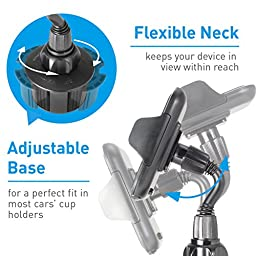 Macally Adjustable Automobile Cup Holder Phone Mount for iPhone 7 7 Plus 6s Plus 6s 5s 5c Samsung Galaxy S7 Edge S6 S5 Note 5, iPod, Smartphones, MP3, GPS etc (MCUPMP)