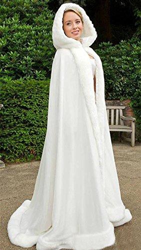 FNKSCRAFT cape capuche Femme longue Manteaux de chaud fourrure Avec hiver mari mariage princesse Fw1wt
