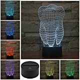 3D Illusion Lamp Gawell Night Light Tooth 7 Changing Colors Touch USB Table Nice Gift Toys Decorations