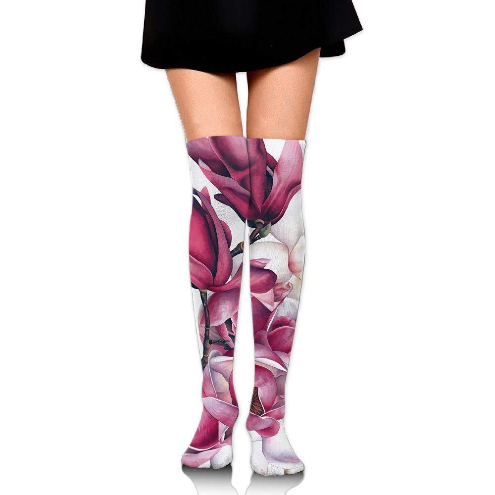 Womens//Girls Botanical Magnolias Casual Socks Yoga Socks Over The Knee High Socks 23.6