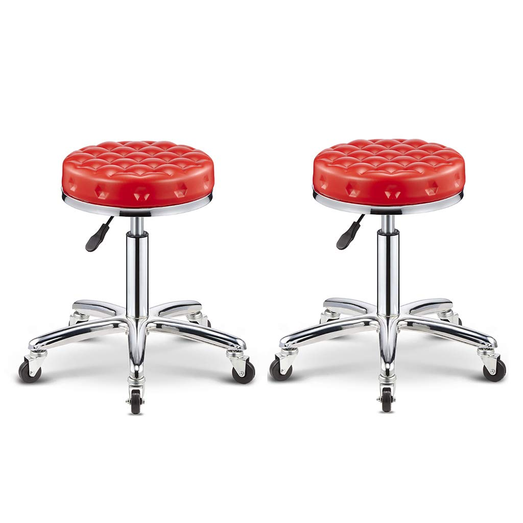 Red×2 A-Fort Barstool, Beauty Stool, Work Bench, Stainless Steel 5 redations Lift Hairdresser Beauty Salon Hair Pulley Stool 43-58cm Suitable for 75-90cm Counter Bar Chair Swivel Chair (color   Red×2)