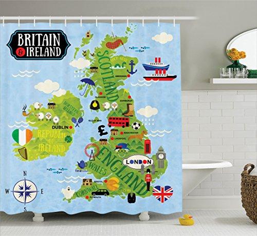 Ambesonne Wanderlust Shower Curtain, Cartoon Maps of Britain