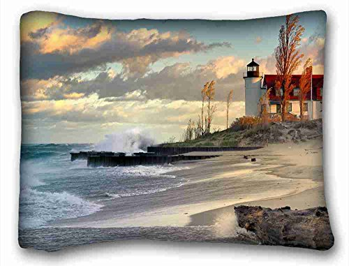 """Soft Pillow Case Cover (Nature Landscapes Water Clouds Landscapes Lighthouses Beaches) Pillowcase Cover 20""""X26"""" One Side Suitable for King-Bed PC-Bluish-55510"""