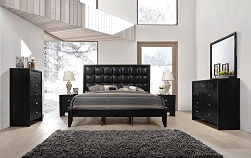 Roundhill Furniture Gloria 350 black Finish Wood Bed Room Se