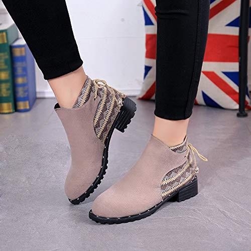 Mocasines Beige Casual Deportes para QinMM Zapatos Botines rebaño Martin de Botas Mujer Zapatillas de BqBvwH