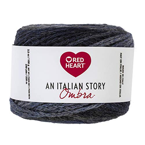 Red Heart R182.3341 Italian Story Ombra Wool Blend Yarn, Tempo
