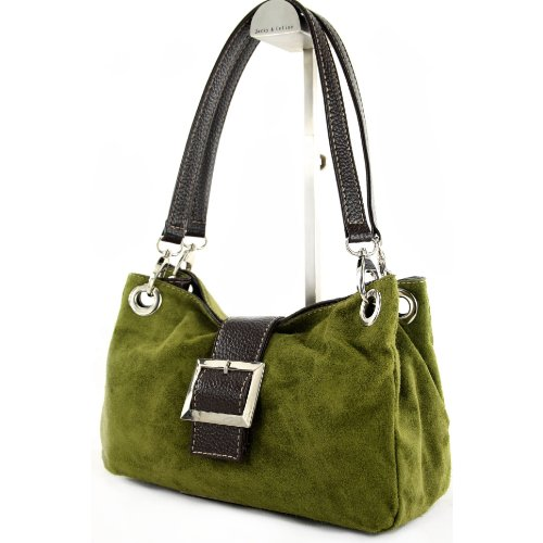ital. bolsa de cuero de las señoras del totalizador del bolso de la taleguilla del ante Pequeño TL02 Olivgrün