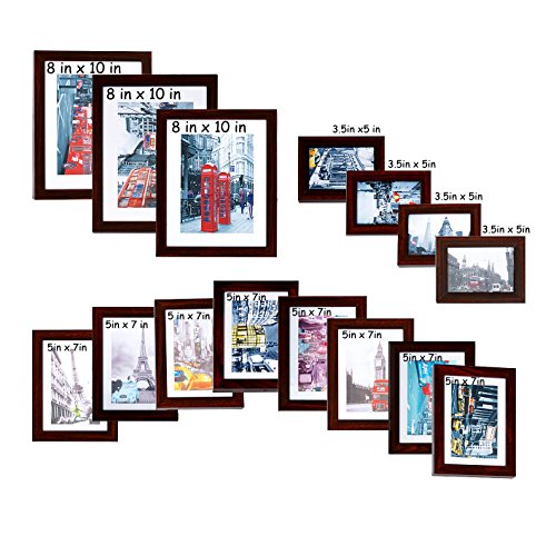 (Lucky Tree 15pc Assorted Wall Picture Frame Collage Set for Different Sizes-3 pcs 8x10 in, 8 pcs 5x7 in, 4 pcs 3.5x5 in, Antique Brown)