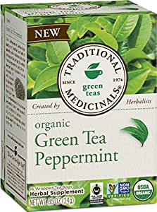 Traditional Medicinals Organic Green Tea Peppermint Tea, 16 Tea Bags (Pack of 6)