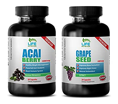 anti-aging capsules - ACAI BERRY - GRAPE SEED EXTRACT - COMBO - acai vitamins - (2 Bottles Combo)