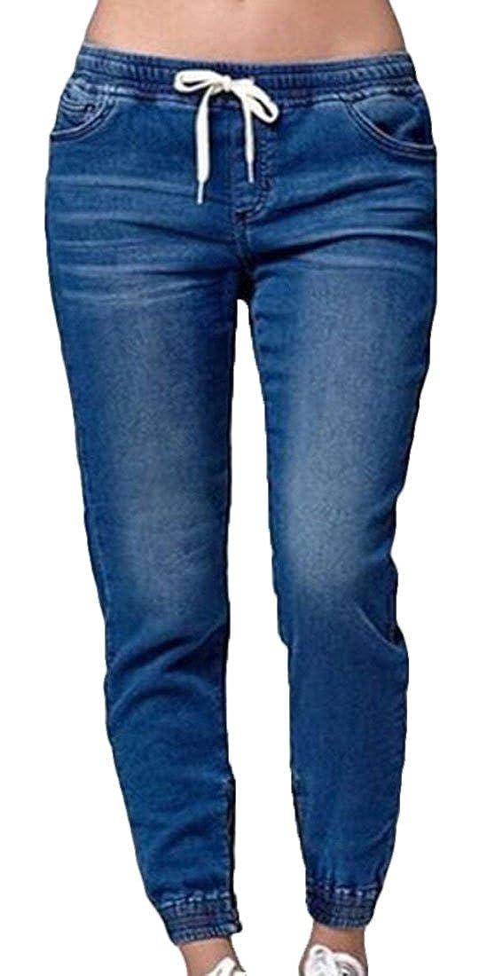 JXG Women Stretch Cotton Washed Drawstring Waist Skinny Denim Pants