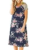 Twippo Women Floral Striped Short Sleeve Crewneck T-Shirt Dress Tunic Midi Dress Navy Blue M