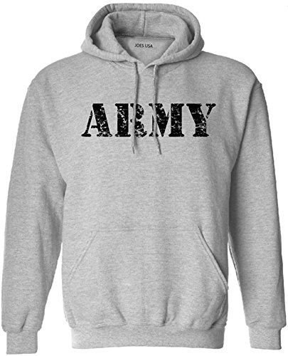 Joe's USA Vintage Army Logo - Grey Hooded Sweatshirt-S