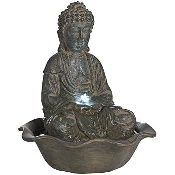 12u0026quot high led seated buddha water fountain