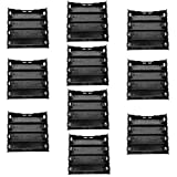 TrendBox Pack of 10 - DIY Battery Plastic Black Case Holders with 8 Pins Contact Fit for 4 x 3.7V 18650 Li-ion Lithium Rechargeable Batteries (Not Included)