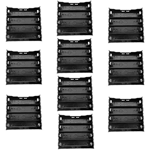 Lithium Ion Battery Holder - TrendBox Pack of 10 - DIY Battery Plastic Black Case Holders with 8 Pins Contact Fit for 4 x 3.7V 18650 Li-ion Lithium Rechargeable Batteries (Not Included)