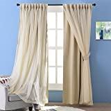 Cheap NICETOWN 2 Layers Drape Mix & Match Elegance Home Decor Window Treatment Drape Beige Crinkled Voile and Blackout Curtain Panel With Free Tie-backs (1 Piece 2-Layer Panel, 84 inch Long)