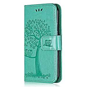 Case for Huawei Honor 9, Bear Village® Wallet Case PU Leather Huawei Honor 9 Stand Cover, Silicone Back Magnetic Flip Embossing PU Case (#4 Green)