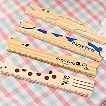 BST Wedding Favors 3pcs Kawaii Cute Animal Wood Ruler Schlool Stationery Sewing Ruler Kids Birthday Party Wedding Return Gift Present