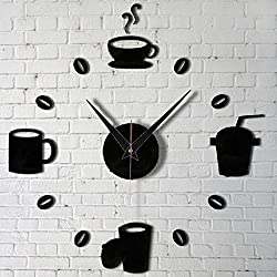 Shuangklei Modern Wall Clocks Diy Large Cup Coffee Stickers Decals Still Alarm