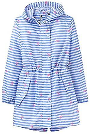 Joules Womens Golightly Golightly Waterproof Dog Print Packable Rain Jacket with Hood Hooded Long Sleeves Rain Jacket, Womens, White, 10