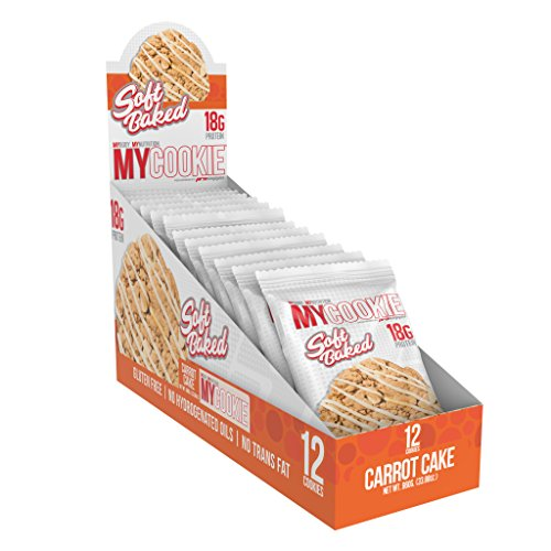 Pro Supps MYCOOKIE Delicious Soft Baked Protein Cookie, Carrot Cake, 18g Protein, 7g Sugar, Gluten-Free, No Trans Fat, Healthy On-The-Go Snack, 12ct, Net Wt 2.82 oz