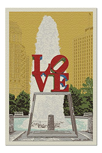 Philadelphia, Pennsylvania - Love Statue - Letterpress (20x30 Premium 1000 Piece Jigsaw Puzzle, Made in USA!)