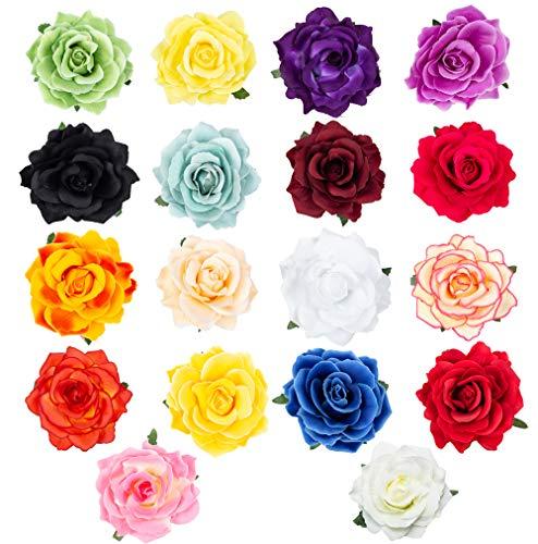 HOPEANT 18PCS Rose Flower Hairpin Hair Clip Flower Pin Up Flower Brooch for Bridal Headpiece BXH35-18