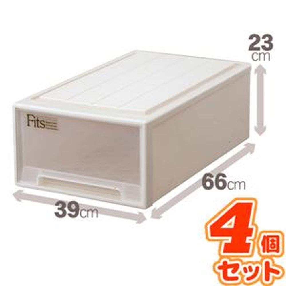 -4個セット-押入れ収納/衣装ケース-ミドル-幅39cm×奥行66cm×高さ23cm『Fitsフィッツケース』日本製 B07T8LZ4KL