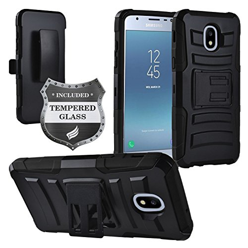 (Z-GEN - Galaxy J3 2018 J3 Star/Achieve/Aura/Orbit, Sol3, Express Prime 3, Amp Prime 3, J3 V J3V 3rd Gen J337 - Holster Belt Clip Stand Case for Samsung + Tempered Glass Screen Protector - CV1 Black)
