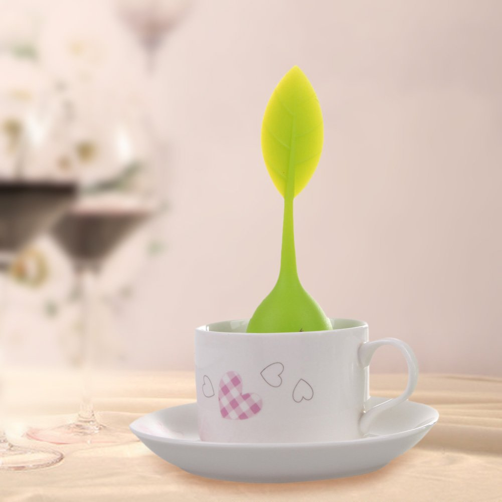 Funnytoday365 Kitchen Tea Tools Leaf Green Tea Infuser With Drip Tray Silicone Strainer For Herbal Puer Spice Filter Tools Kitchen Drinkware by FunnyToday365 (Image #2)