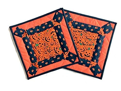 Halloween Potholders, Handmade Insulated Quilted Pot Holders, Hot Pads, Trivets, Mug Rugs, Candle Mats - 10