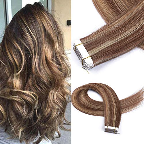 Cute Fairy Tape In Human Hair Extensions Full Cuticle Seamless Straight Tape Hair Extensions 36g 20Pcs/Pac Dark Brown Highlight with Caramel Blonde Hair Extensions Human Hair 16 inches