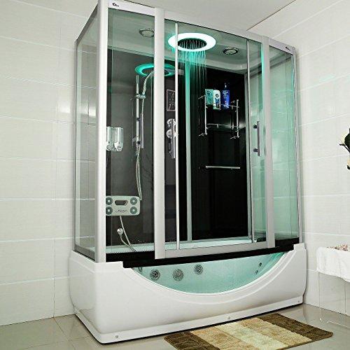 TroniTechnik Dampfdusche Duschtempel Whirlpool Badewanne Komplettdusche Duschkabine Dusche 170x90 schwarz