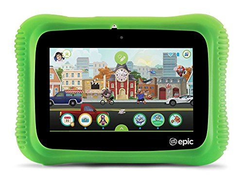 LeapFrog Epic Academy Edition 7-Inch Touchscreen Kids Tablet with 1.3 GHz Quad-Core Processor 16GB Memory and Android OS, Green (Non-Retail Packaging) by LeapFrog