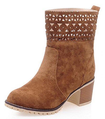 Idifu Kvinna Vintage Ihåliga Ut Mitten Chunky Klackar Boots Halka På Korta Tossor Brun