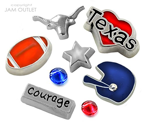 8 Pc HOUSTON Football Fan Floating Charms Set - Fits all 30mm Living Memory Glass - Outlets Texas Houston