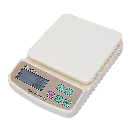 TYUCN Mini Balanzas Electrónicas Digitales Bolsillo 10Kg / 1g Cocina Balanza de Pesaje Pantalla LCD Retroiluminación