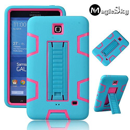 Galaxy Tab 4 7.0 Case, Magicsky 3in1 Heavy Duty Hybrid Shockproof Armor Kickstand Case For Samsung Galaxy Tab 4 7.0 T230 /T231/ T235 Galaxy Tab 4 Nook Cover - Hot Pink/Teal (Galaxy Tab 4 Case Nook)
