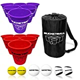 BucketBall - Team Color Edition - Combo Pack (Purple/Red): Original Yard Pong Game: Best Camping, Beach, Lawn, Outdoor, Family, Adult, Tailgate Game