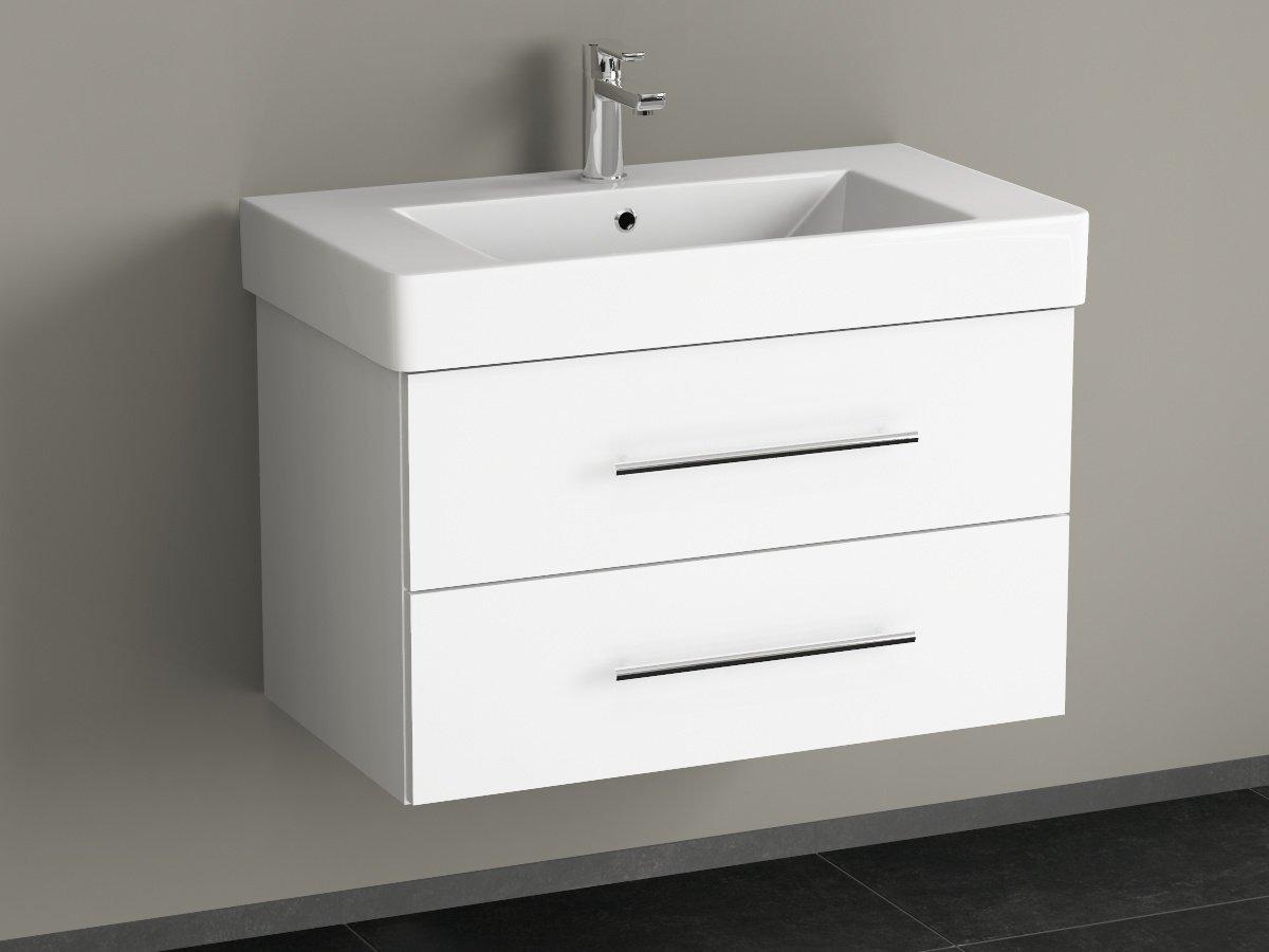Aqua Bagno Flex Badmöbel 80cm inkl. Waschtisch weiß lackiert ...