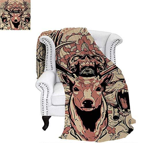 Velvet Plush Throw Blanket Modern Artsy Illustration of Skull and Wolves with Floral Design Majestic Antler Throw Blanket 62