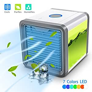 Personal Space Cooler 3-in-1 Evaporative Air Conditioner, Humidifier, Air Purifier. 3 Fan Speeds, 4 Foot Cooling Area. Portable for Bedroom, Work, Outdoors. USB or Conventional for Energy Savings By T