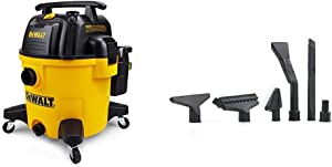 DeWALT DXV10P 10 Gallon Quiet Poly Wet Dry Vacuum Yellow & Workshop Wet/Dry Vacs Vacuum Accessories WS17854A 1-7/8-Inch Shop Vacuum Attachment Kit for Use with A Shop Vacuum with Homeowners in Mind