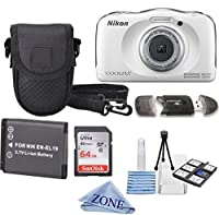 Nikon COOLPIX S33 White Waterproof Digital Camera + Extra Battery, 64GB Memory Card+ Accessory Zone cloth + Accessory Bundle by Accessory Zone
