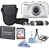Nikon COOLPIX S33 White Waterproof Digital Camera + Extra Battery, 64GB Memory Card+ Accessory Zone cloth + Accessory Bundle