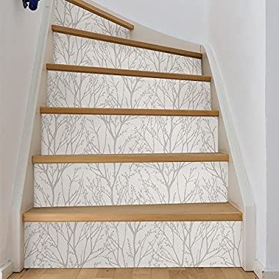 NuWallpaper NU2394 Treetops Peel & Stick Wallpaper, White and Off-White