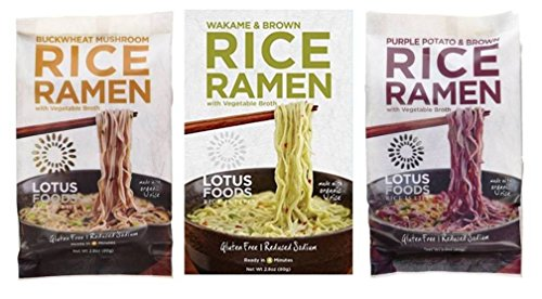 Lotus Foods Gluten Free Rice Ramen & Broth 3 Flavor 6 Bag Variety Bundle: (2) Buckwheat Mushroom Rice Ramen, (2) Wakame & Brown Rice Ramen, and (2) Purple Potato & Brown Rice Ramen, 2.8 Oz Ea (6 Tot) (Rice Noodle Ramen compare prices)