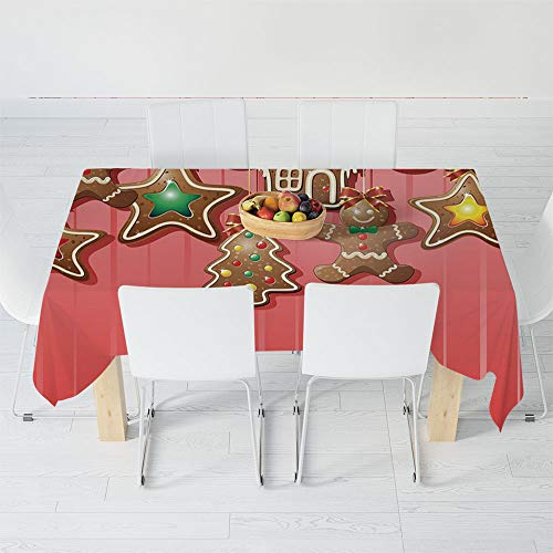 Fashionable Tablecloth,Gingerbread Man,for Secretaire Square Table Office Table,60.2 X 40.2 Inch,Christmas Cookies and Baubles with Bowties Symbolic ()