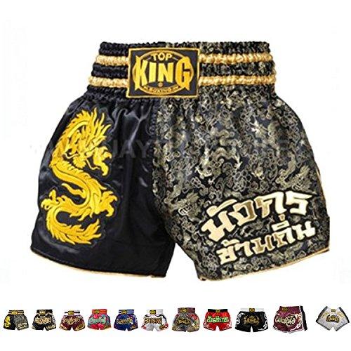 Thai Shorts Normal or Retro Style Size S, M, L, XL, 3L, 4L (Black/Gold Dragon L) (Gold Dragon Pants)